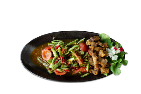 Spicy salad with long bean and crispy pork,