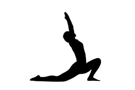 fitness woman doing exercise and Yoga pose, woman to do the splits silhouette portrait, gymnast figure, black and white contour outline drawing. Isolated on white background
