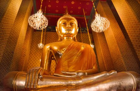 public domain: The huge Buddha at Wat Kalayanamit, Bangkok, Thailand, Tple is created with money donatedhailand .The tem by people it is public domain and open to the public visits.