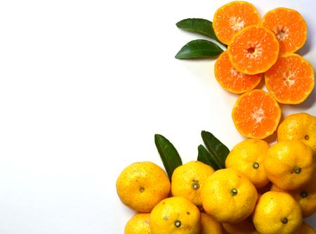 cantle: Orange fruit on leaves, Isolated on white background