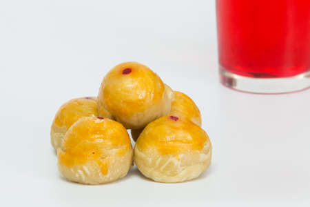 chese: Chinese cake Sweet red and white background