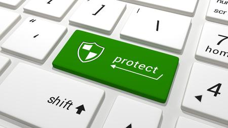 antivirus software: Protect key on a keyboard Stock Photo