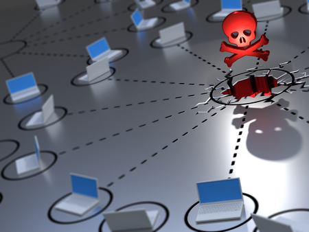 infected: Malware in a network Stock Photo
