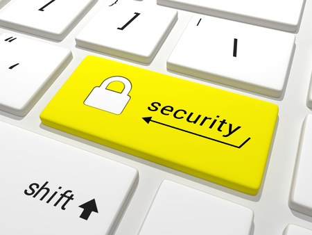 Security key on a keyboard Stock Photo
