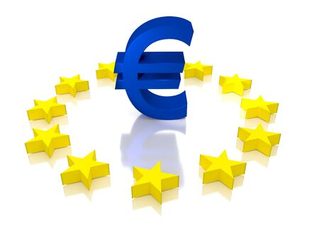 Large Euro symbol with the European Union stars around it. It is related to the ECB.