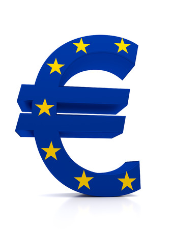 Large Euro symbol combined with the European Union stars. It is related to the ECB.