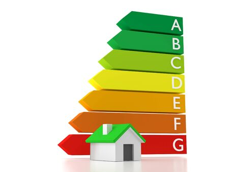 A house combined with an energy label which shows a rating of energy consumption Stock Photo