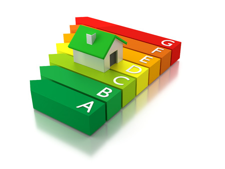 eficiencia energetica: Una casa combinado con una etiqueta energética que muestra una clasificación del consumo de energía