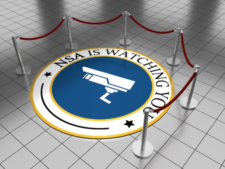 Round illustration laying on a tiled floor with the text NSA is watching you. Stock Illustration - 40558921