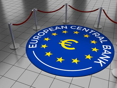 Round illustration laying on a tiled floor with the text European Central Bank including the European Union (EU) stars and Euro sign.