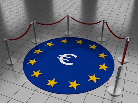 Round illustration laying on a tiled floor with the Euro sign and stars on a blue background. Stock Photo