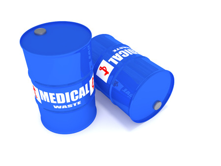 2 drums containing medical waste. Stock Photo