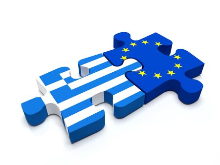 international crisis: Puzzle pieces connect a piece containing the Greece flag and the European Union flag. Stock Photo