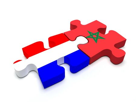 Puzzle pieces connect a piece containing the dutch flag and the Moroccan flag.