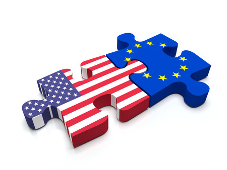 Puzzle pieces connect a piece containing the European Union Flag and the US flag.