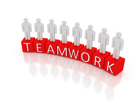 The word teamwork divided in separate boxes with man standing on it.