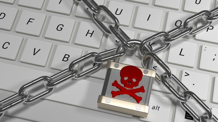 locked in: Keyboard locked in a chain. Stock Photo