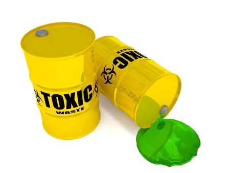 2 drums containing toxic waste. Stock Photo