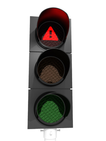 Danger, warning, traffic light showing a red light with exclamation mark.