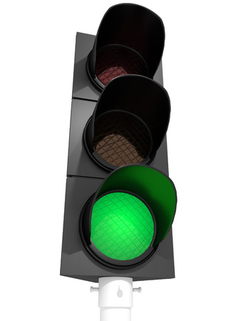 A traffic light with an active green light Imagens