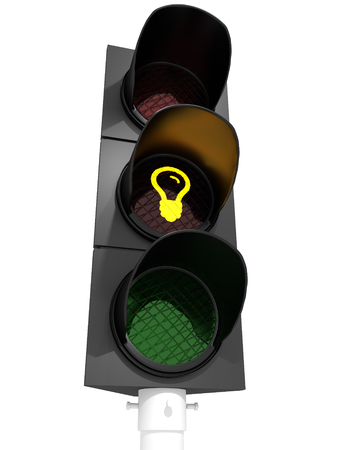 Traffic light showing a idea-sign.