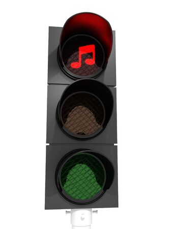 A traffic light showing a red light with 2 notes.