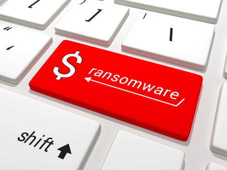 Keyboard equipped with a red ransomware dollar button. Stock Photo - 40559366