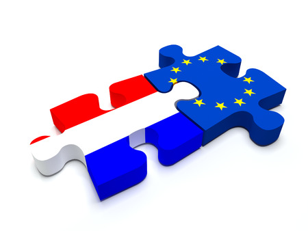 Puzzle pieces connect a piece containing the Dutch flag and the  European Union flag.