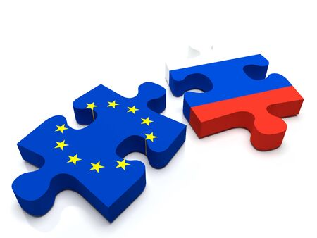 international crisis: Puzzle pieces a piece containing the European Union flag and the Russian flag.