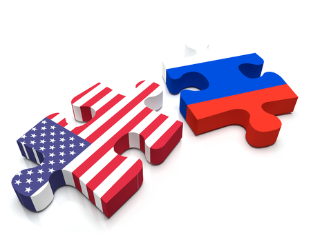 Puzzle pieces a piece containing the USA flag and the Russian flag. Stock Photo