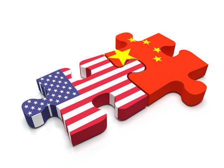 Puzzle pieces connect a piece containing the chinese flag and the US flag.
