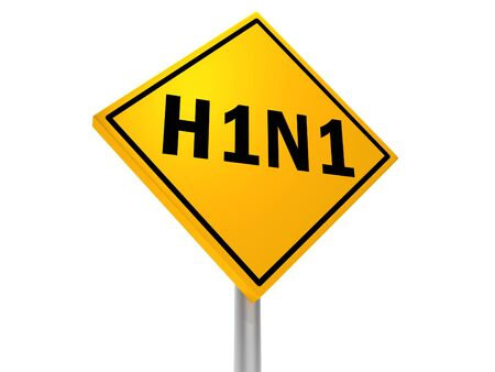 H1N1 written on a orange road sign. H1N1 is a virus.
