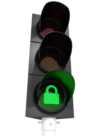 A traffic light showing a padlock-sign
