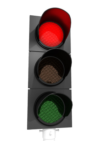 A traffic light with an active red light