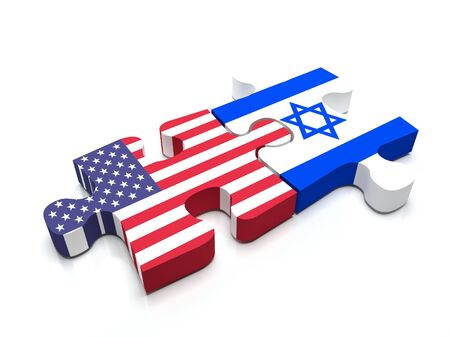 middle east crisis: Puzzle pieces connect a piece containing the US flag and the Israeli flag.