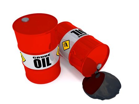 2 oil drums, one on his side is leaking crude oil