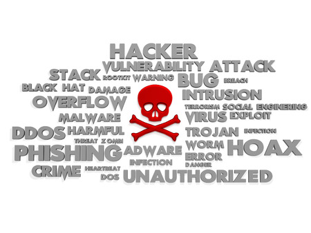 Skull surrounded with tag cloud containing  risks Stock Photo