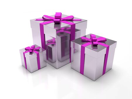 A set of three purple gift boxes with purple ribbon around it. Luxury presents like perfume or jewels for christmas time or valentines day.