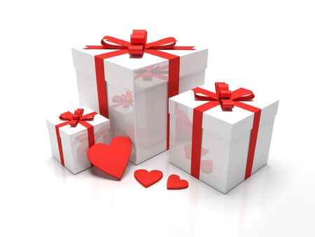 A set of three white gift boxes with red ribbon around it. Presents for christmas time or valentines day. Combined with hearts.