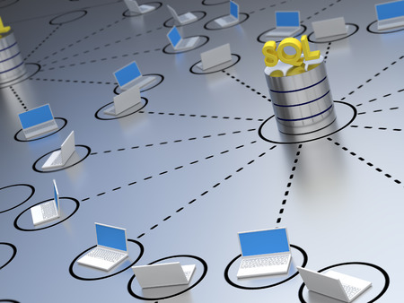 SQL Database located within a network containing laptops.