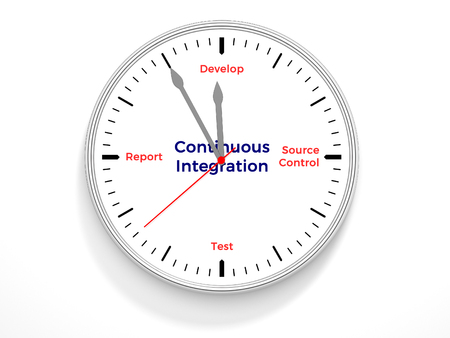A clock containing the life cycle of continuous integration. Stock Photo