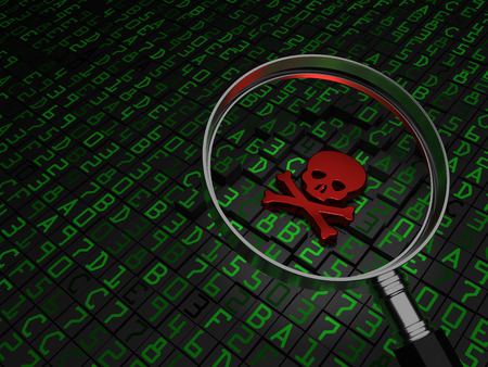 virus: Malware, virus, ransomware, Red Skull laying on hex data. Stock Photo