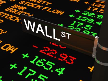 personas en la calle: Wall Street, el wall street nombre de la calle con el fondo de la cinta ticker LED con tasas de valores y otros números.