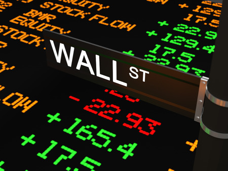 Wall Street, the street name wall street with on the background the LED ticker tape with stock rates and other numbers. Stock Photo