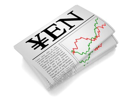 house exchange: A newspaper isolated from white background showing Yen related news.