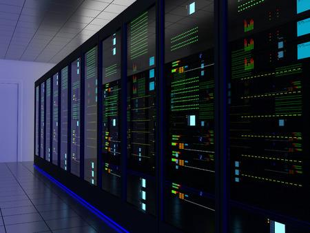 computer center: Sitio del servidor (colocación) o colo con varios gabinetes, servidores, conmutadores y pasarelas.