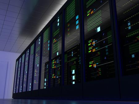 computer centre: Sitio del servidor (colocaci�n) o colo con varios gabinetes, servidores, conmutadores y pasarelas. Un lado. Foto de archivo