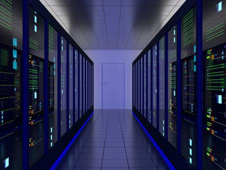 meseros: habitación simétrica servidor (colocación) o colo con gabinetes de servidores en los dos lados Foto de archivo