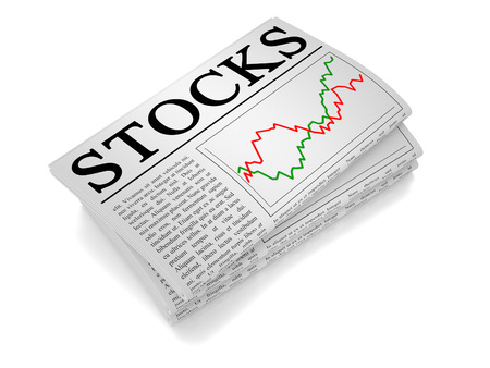 A newspaper isolated from white background showing stock, stocks related news. Stock Photo