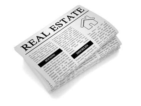 Een papieren geïsoleerd van witte achtergrond met vastgoed, woningbouw gerelateerde krant Stockfoto